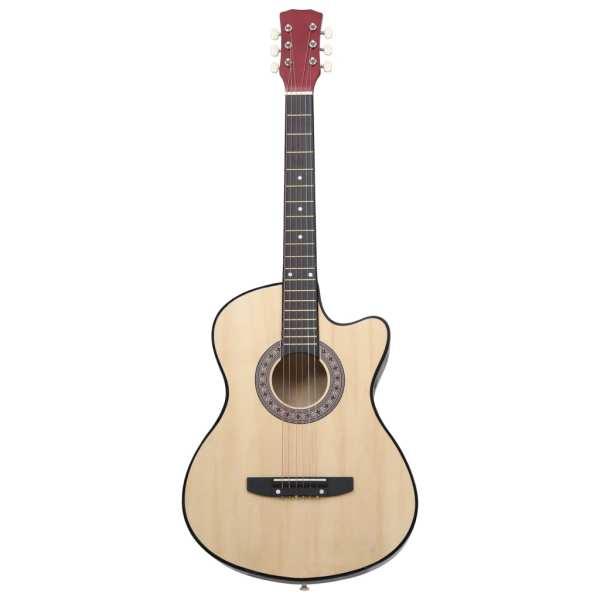 vidaXL Chitară acustică occidentală, cu 6 corzi, 38″, lemn de tei