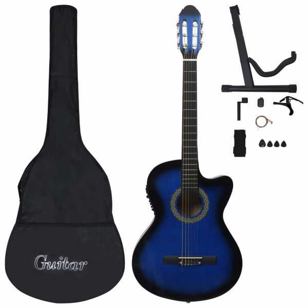 vidaXL Set chitară acustică cu egalizator, 12 piese 6 corzi, albastru
