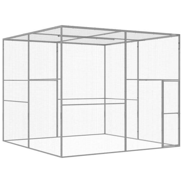 vidaXL Cușcă pentru pisici, 3 x 3 x 2,5 m, oțel galvanizat
