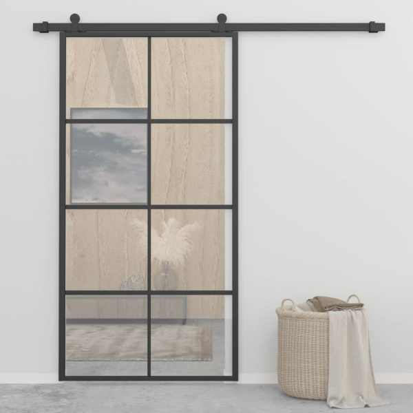 vidaXL Ușă glisantă aluminiu și sticlă ESG 102,5×205 cm negru