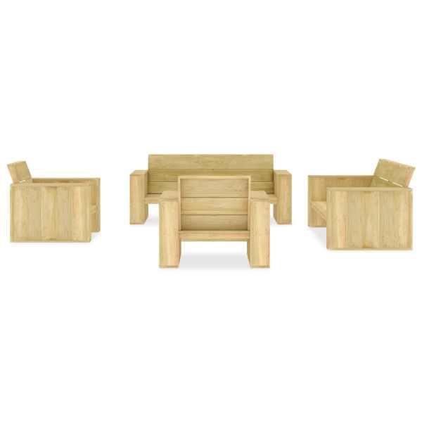 Set mobilier de grădină, 5 piese, lemn de pin tratat