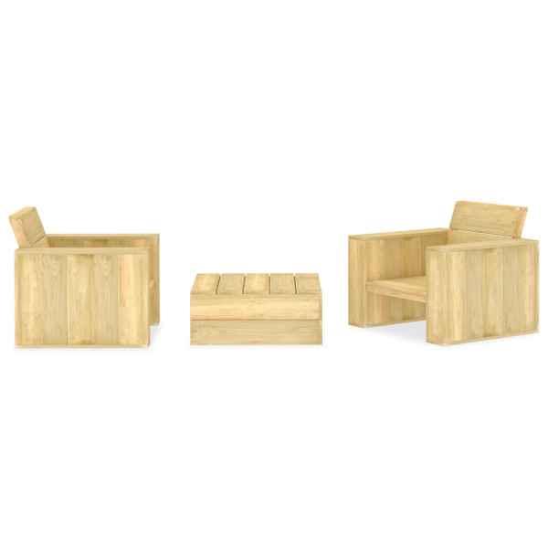 vidaXL Set mobilier de grădină, 3 piese, lemn de pin tratat