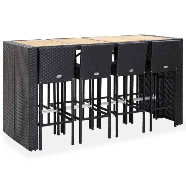 Set de bar exterior, 9 piese, negru, poliratan și lemn acacia