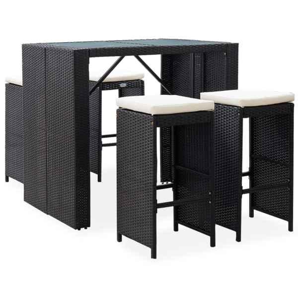 vidaXL Set de bar de exterior, 5 piese, negru, poliratan și sticlă