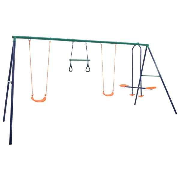vidaXL Set de leagăne cu inele de gimnastică și 4 locuri, oțel