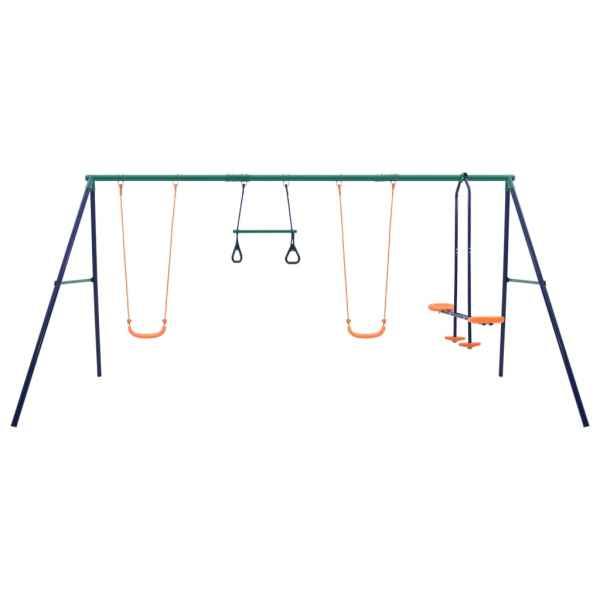 Set de leagăne cu inele de gimnastică și 4 locuri, oțel