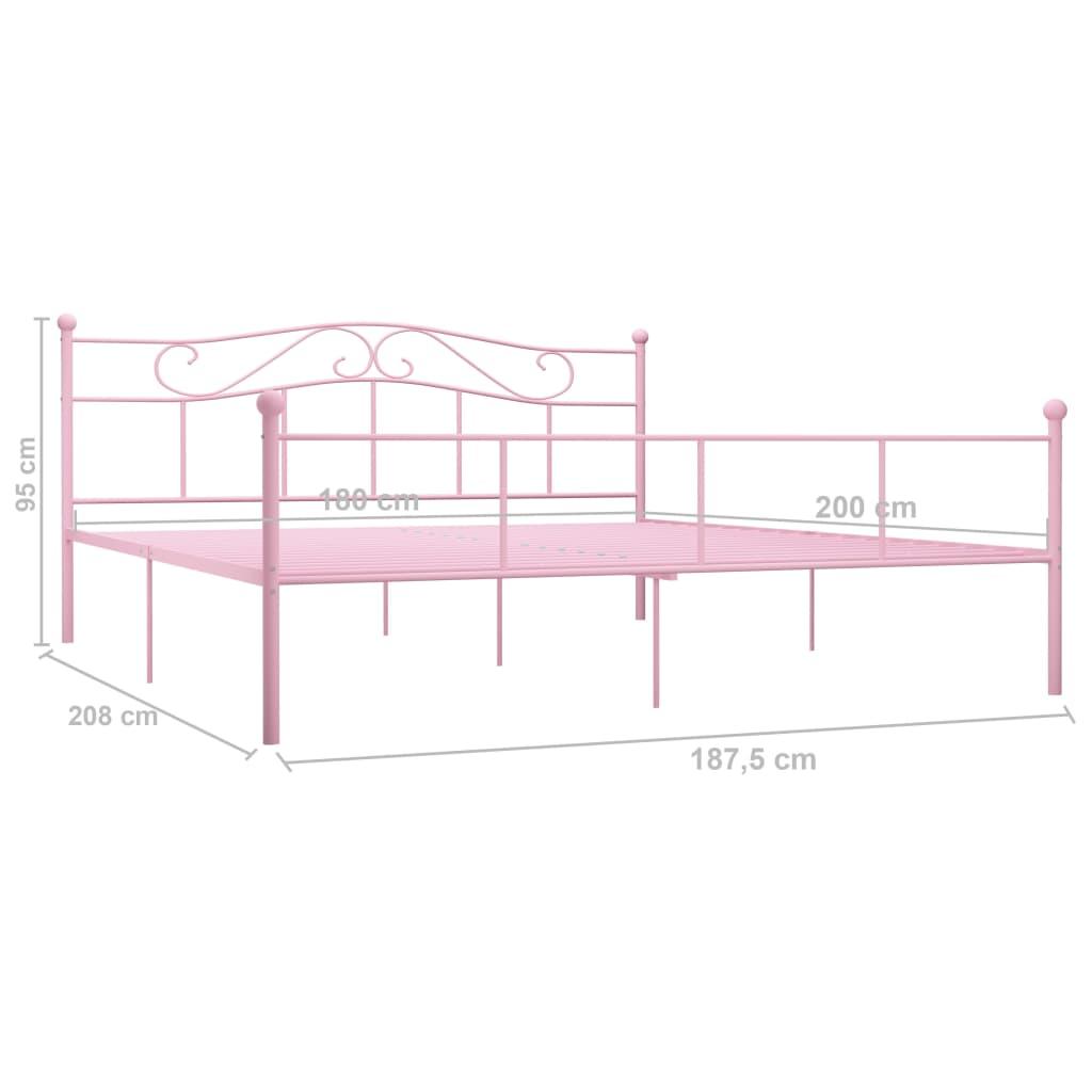 Cadru de pat, roz, 180 x 200 cm, metal