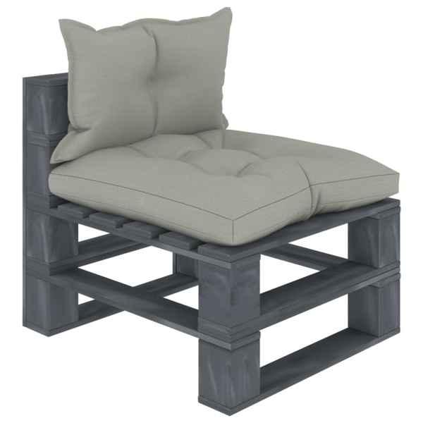 vidaXL Canapea de grădină din paleți, de mijloc, perne gri taupe, lemn