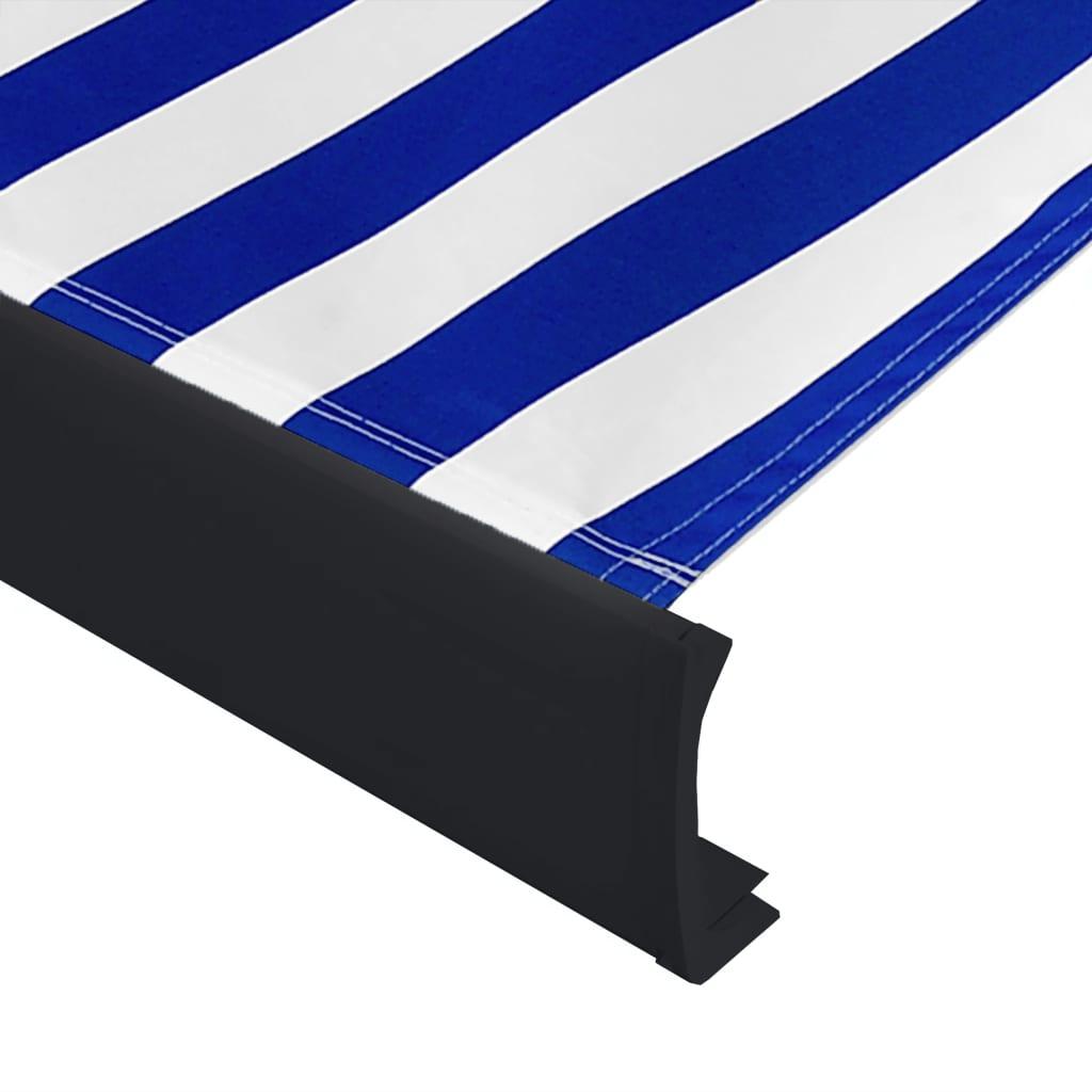 vidaXL Copertină motorizată tip casetă, albastru și alb, 400 x 300 cm