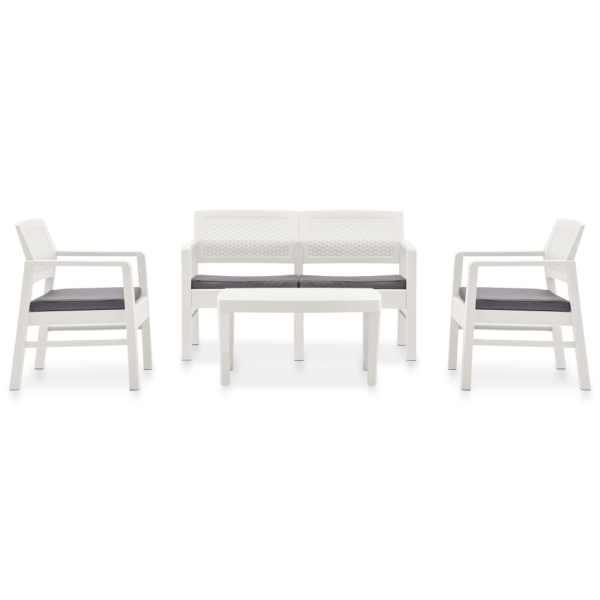 Set mobilier de grădină cu perne, 4 piese, alb, plastic