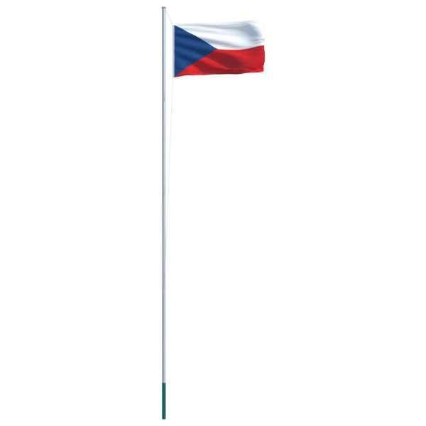 Steag Cehia și stâlp din aluminiu, 6,2 m