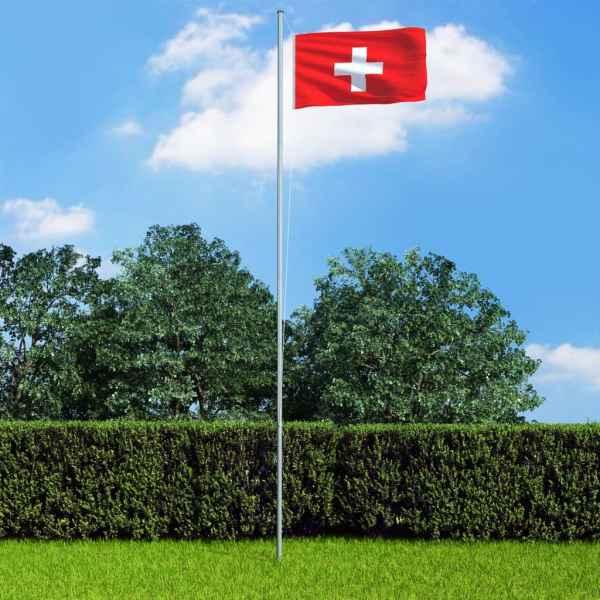 vidaXL Steag Elveția și stâlp din aluminiu, 6,2 m