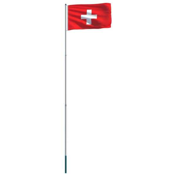 vidaXL Steag Elveția și stâlp din aluminiu, 6 m