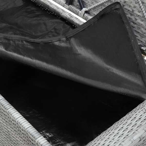 Bancă de depozitare cu pernă, gri, 138 cm, poliratan