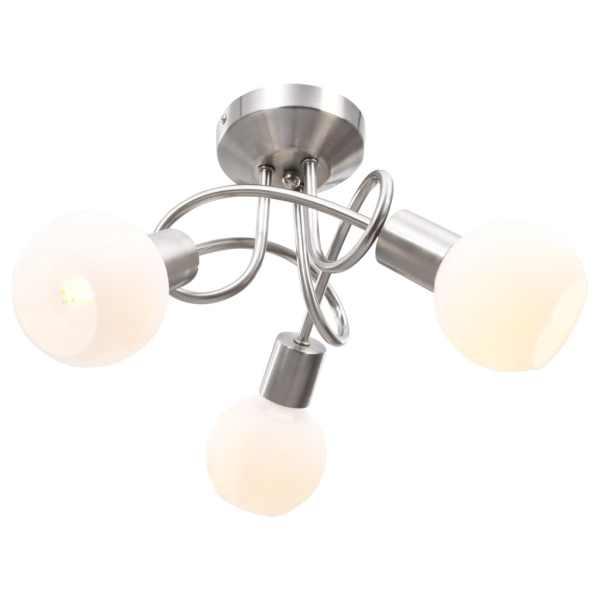 vidaXL Lustră cu abajururi din ceramică, 3 becuri E14, alb, glob
