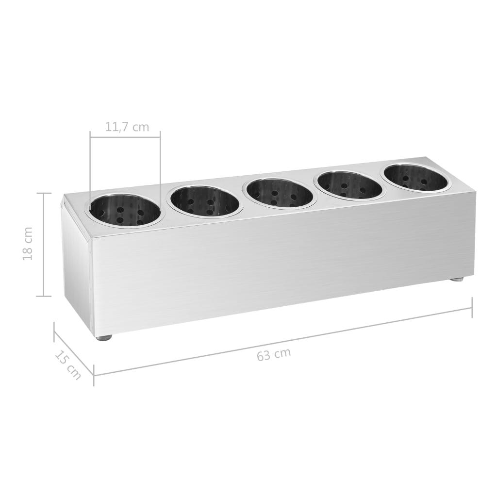 vidaXL Suport tacâmuri 5 inserții oțel inoxidabil dreptunghiular