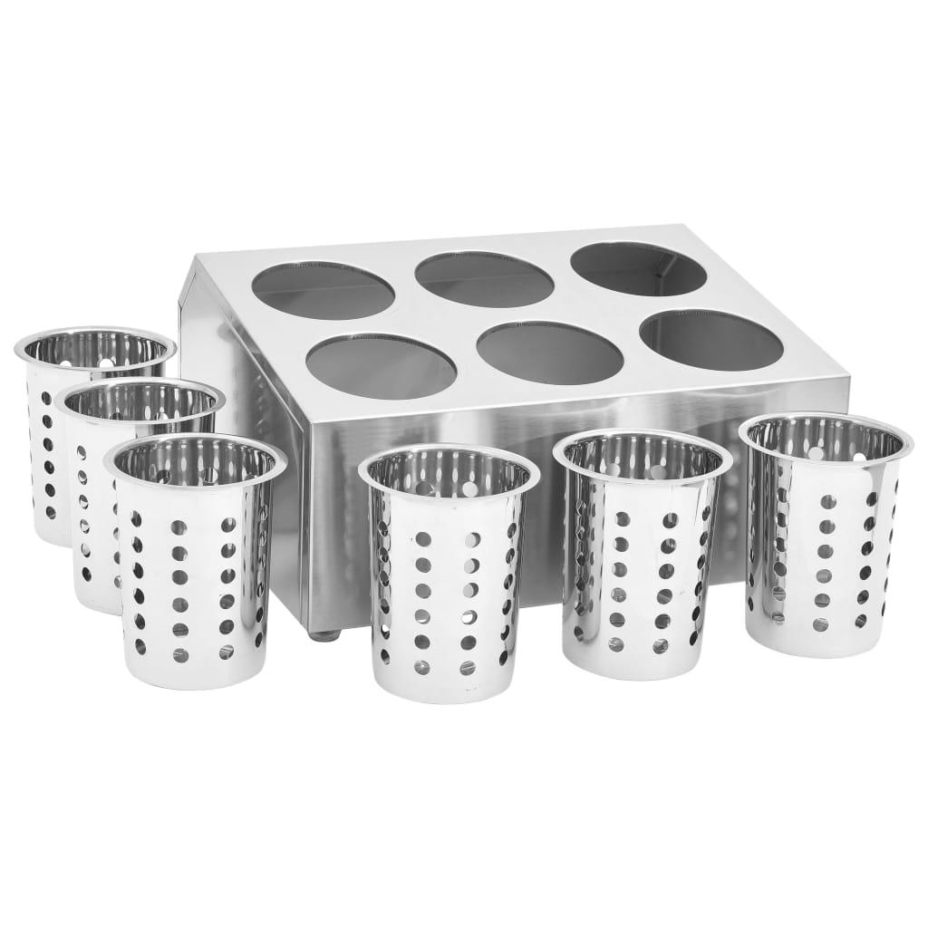 Suport pentru tacâmuri, 6 inserții, oțel inoxidabil, pătrat