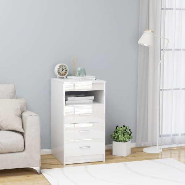 vidaXL Dulap cu sertare, alb extralucios, 40 x 50 x 76 cm, PAL