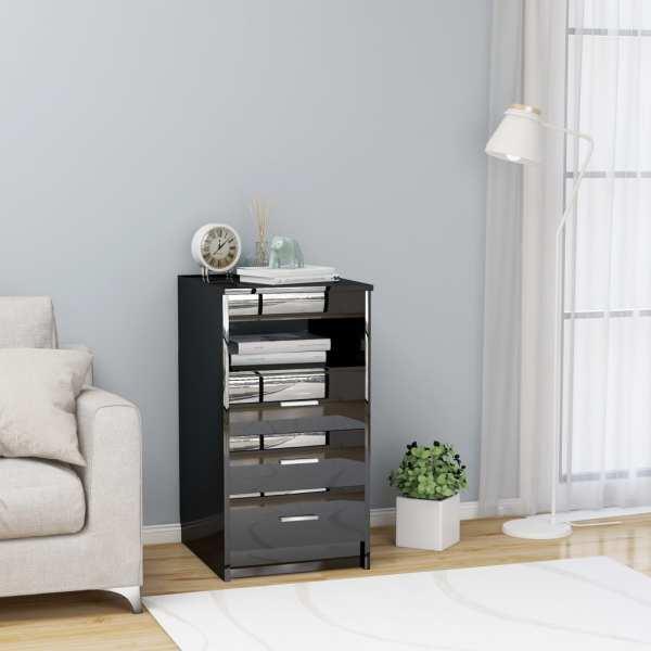 vidaXL Dulap cu sertare, negru extralucios, 40 x 50 x 76 cm, PAL