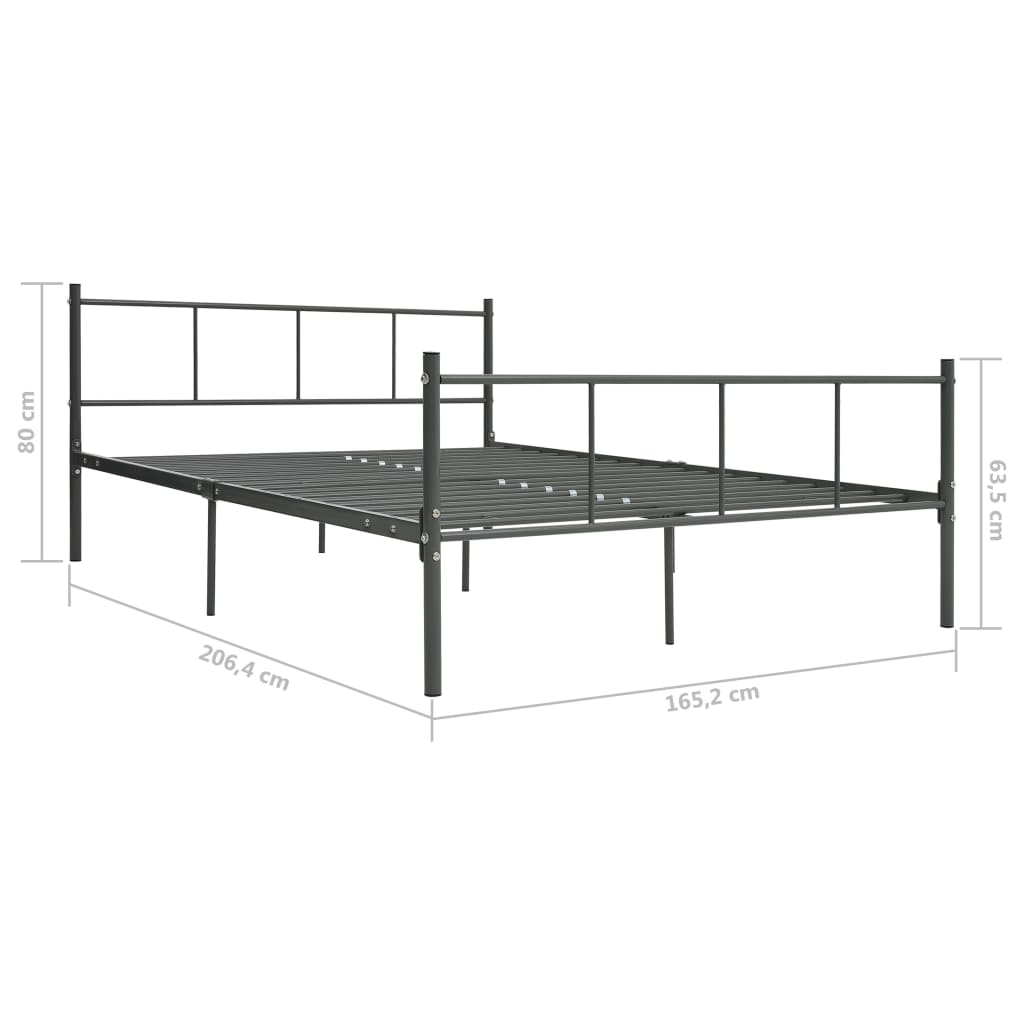 Cadru de pat, gri, 160 x 200 cm, metal