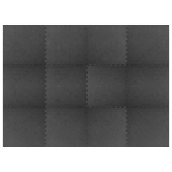 vidaXL Saltele de exerciții, 12 buc., negru, 4,32 m², spumă EVA