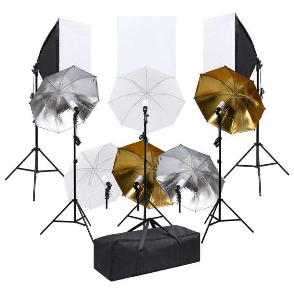 vidaXL Kit de studio foto cu set de lumini și softbox-uri