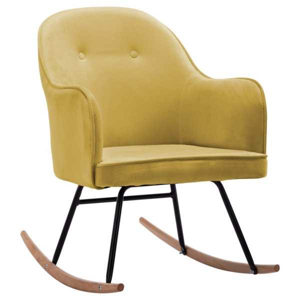 Scaun balansoar, galben muștar, catifea
