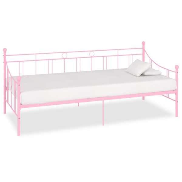 vidaXL Cadru pat de zi, roz, 90 x 200 cm, metal