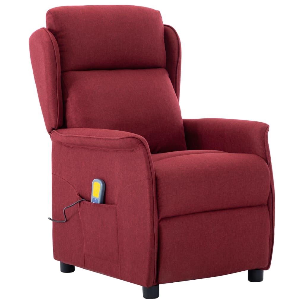 Fotoliu rabatabil de masaj, roșu vin, material textil