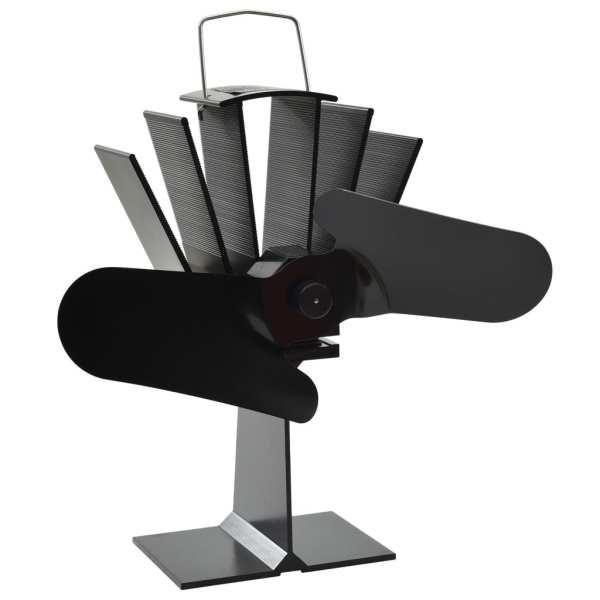 vidaXL Ventilator de sobă cu alimentare termică, 2 palete, negru