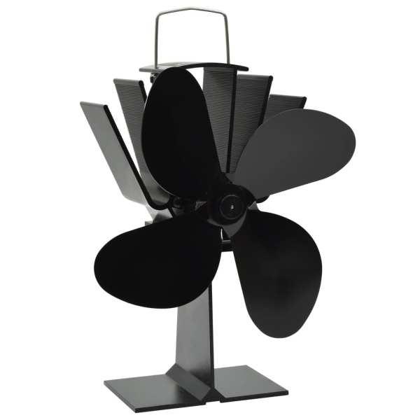 vidaXL Ventilator de sobă cu alimentare termică, 4 palete, negru