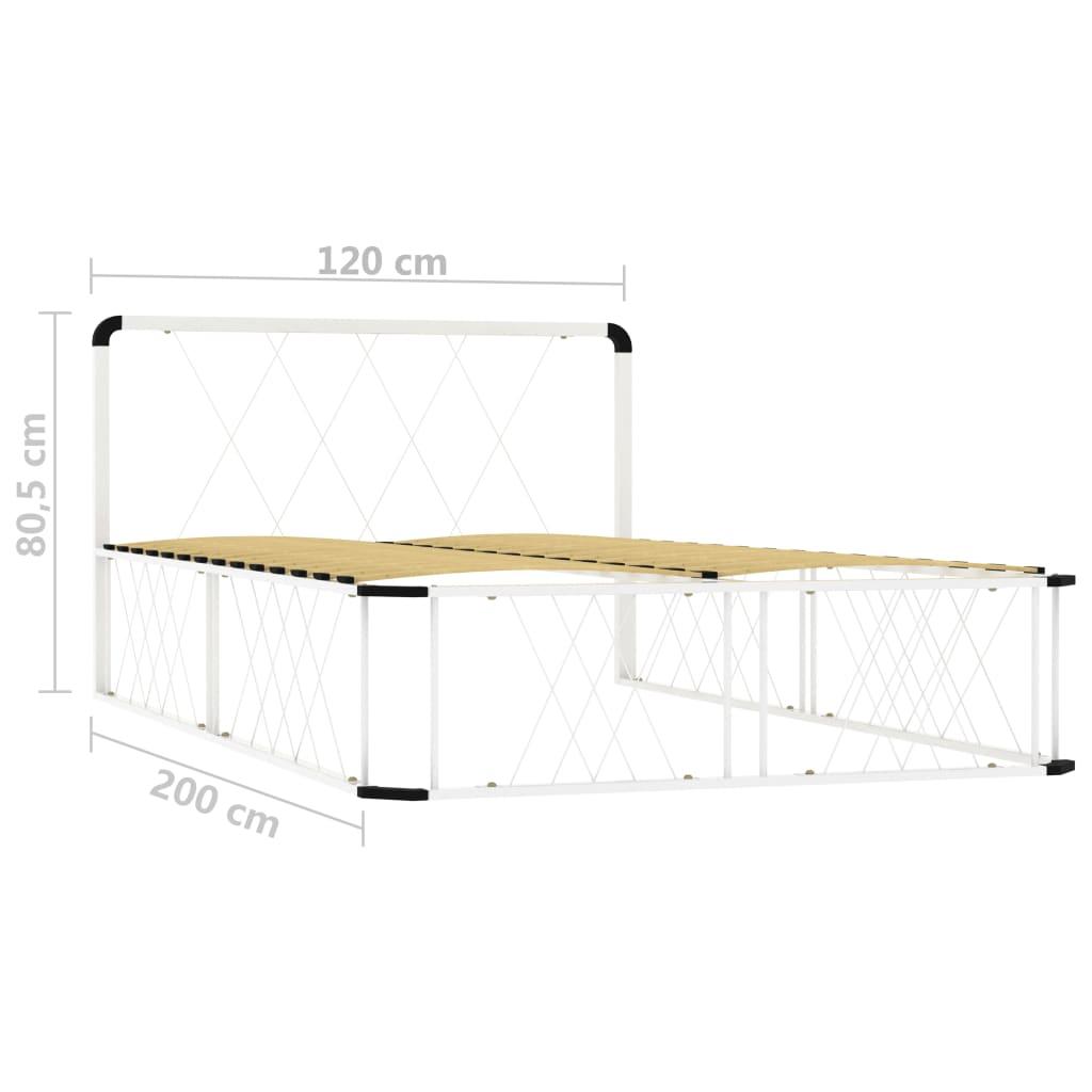 Cadru de pat, alb, 120 x 200 cm, metal