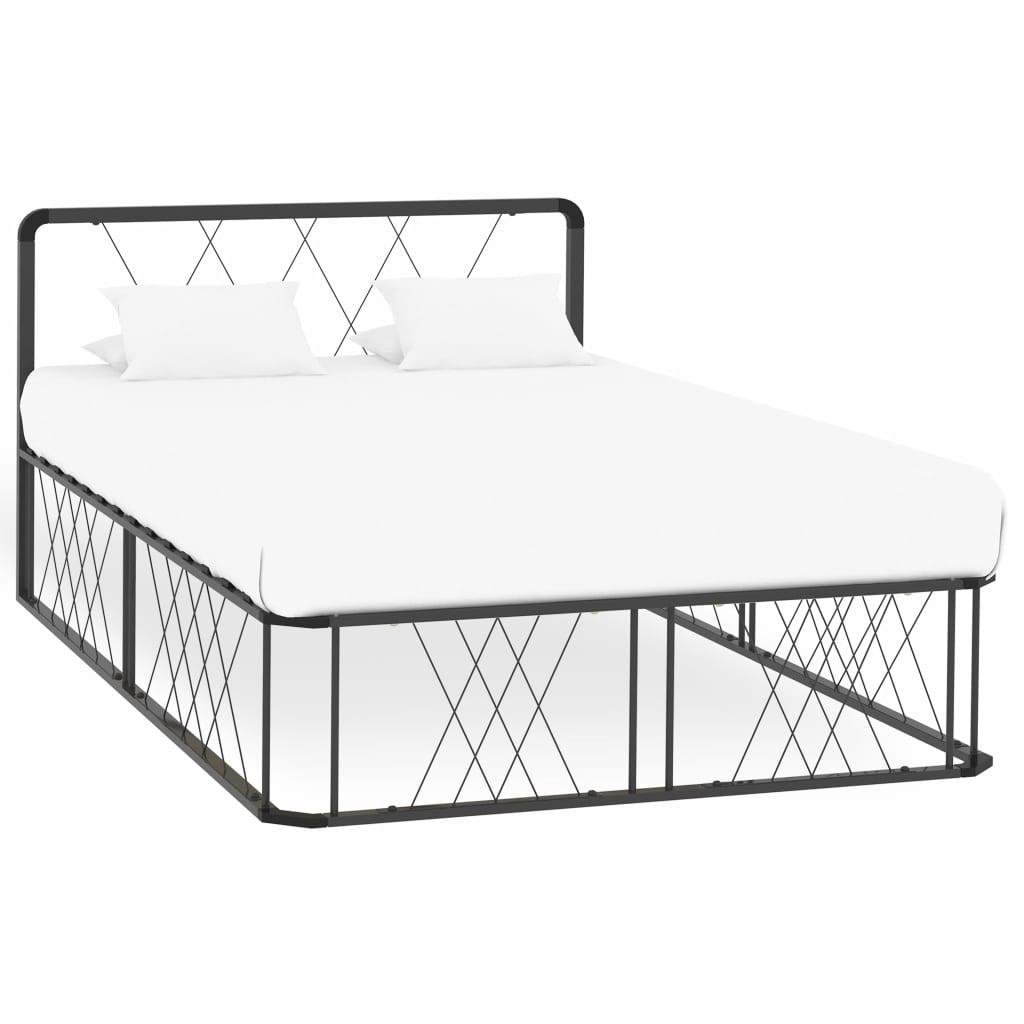 vidaXL Cadru de pat, gri, 120 x 200 cm, metal