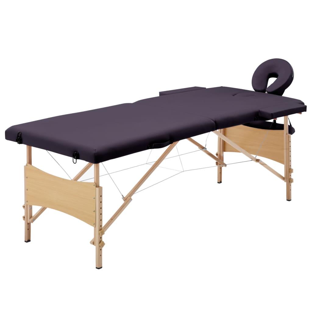 vidaXL Masă de masaj pliabilă, 2 zone, violet, lemn
