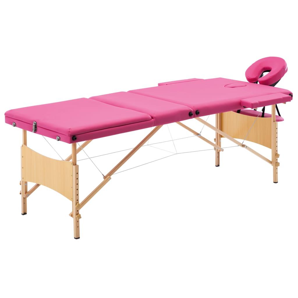 vidaXL Masă de masaj pliabilă, 3 zone, roz, lemn