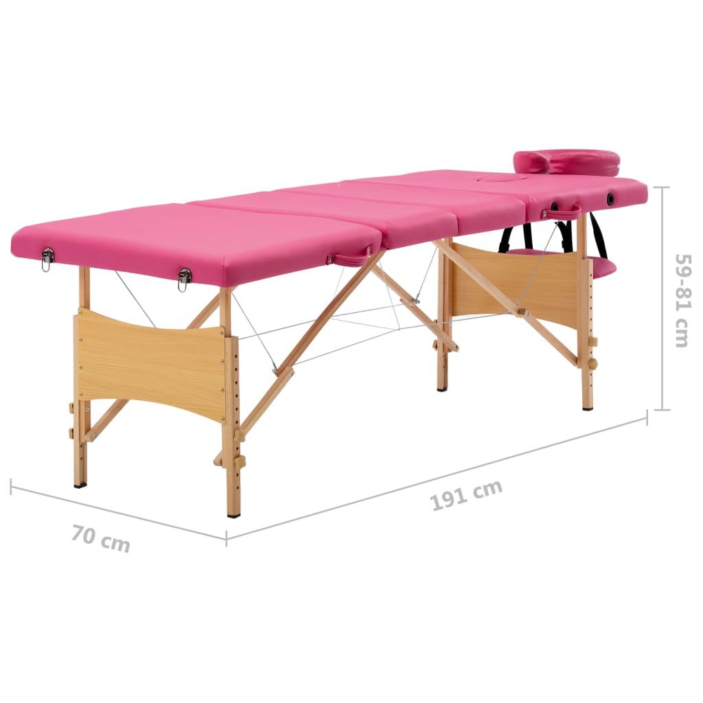 Masă de masaj pliabilă, 4 zone, roz, lemn