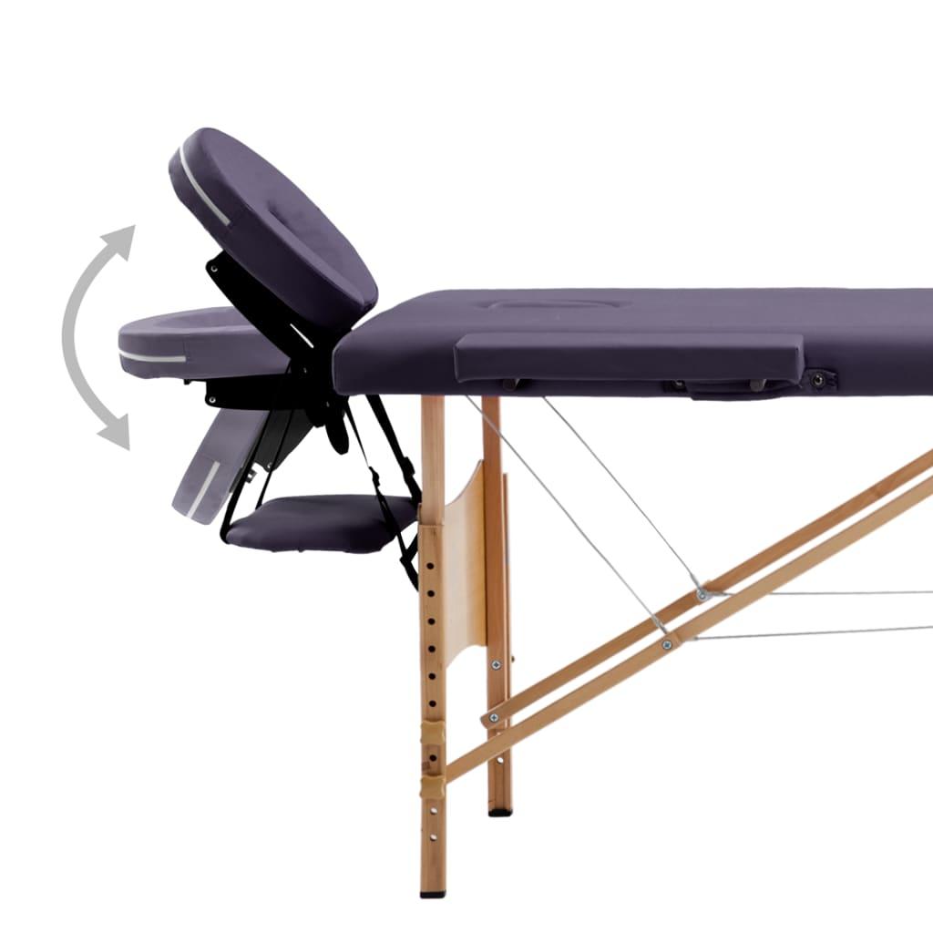 Masă pliabilă de masaj, 4 zone, violet, lemn