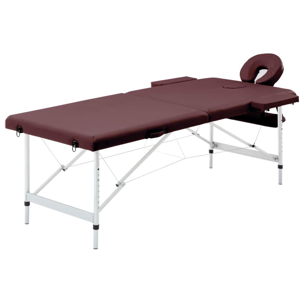 vidaXL Masă de masaj pliabilă, 2 zone, violet vin, aluminiu