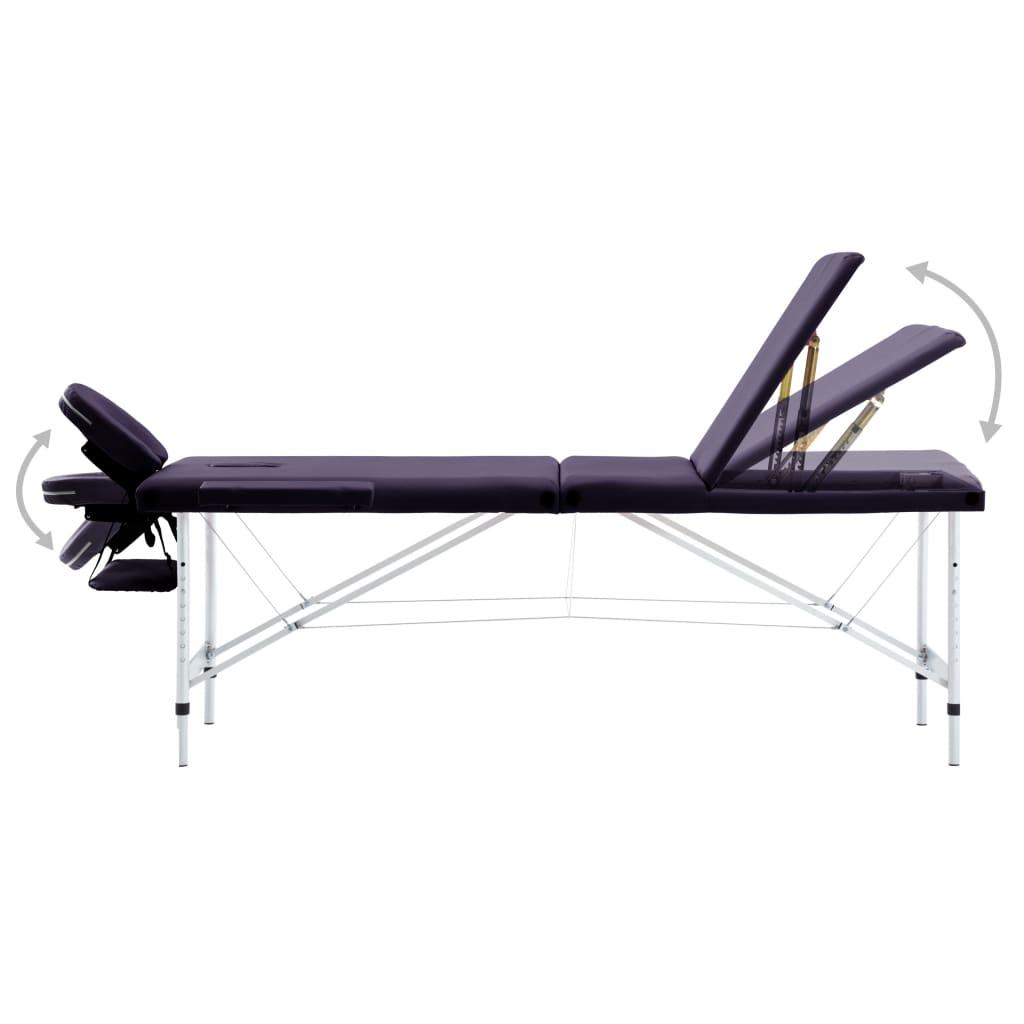 vidaXL Masă de masaj pliabilă cu 3 zone, violet, aluminiu
