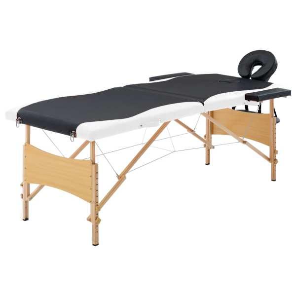 vidaXL Masă pliabilă de masaj, 2 zone, negru și alb, lemn