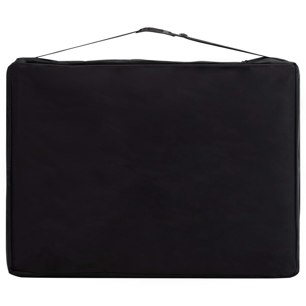 Masă pliabilă de masaj, 2 zone, negru și alb, lemn