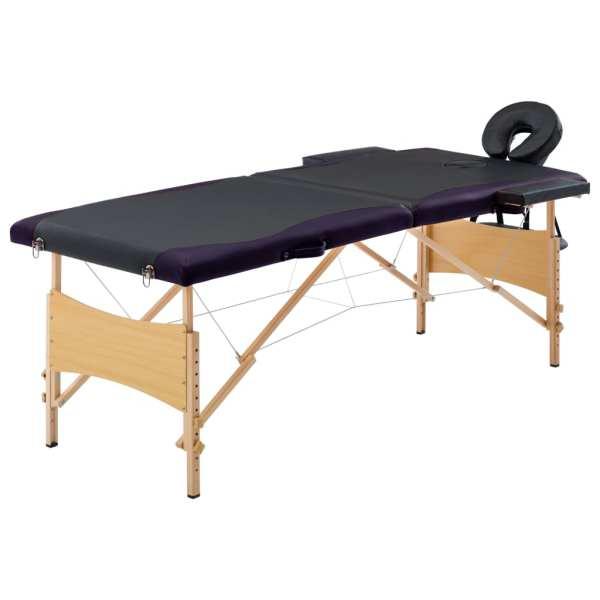 vidaXL Masă pliabilă de masaj, 2 zone, negru, lemn