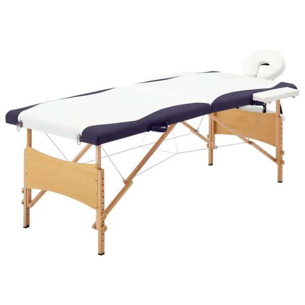 vidaXL Masă de masaj pliabilă, 2 zone, alb și violet, lemn