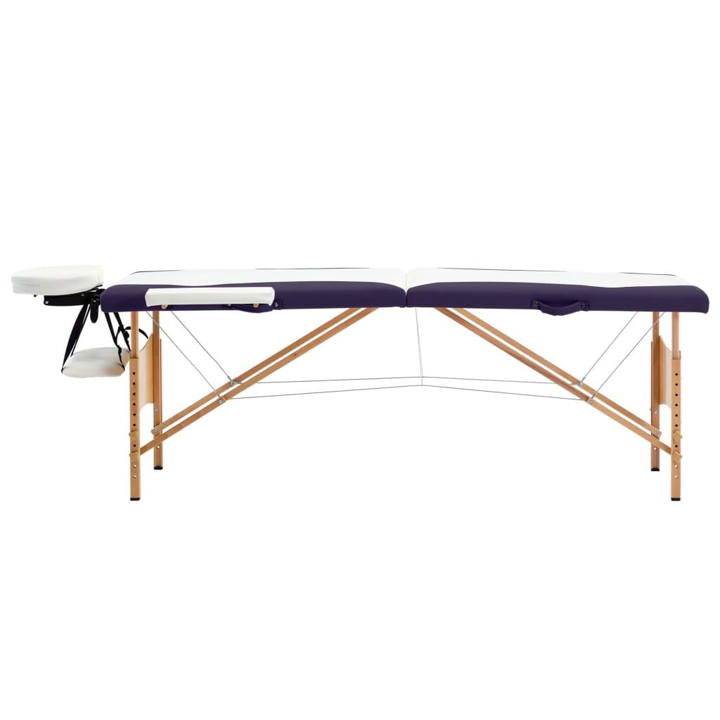 Masă de masaj pliabilă, 2 zone, alb și violet, lemn