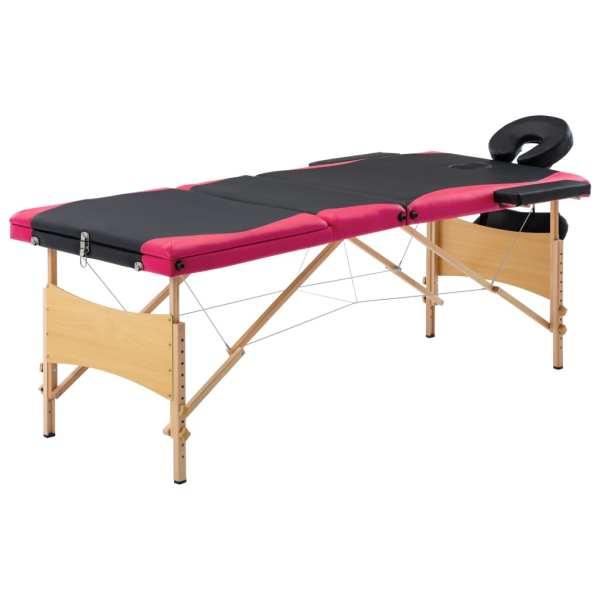 vidaXL Masă de masaj pliabilă, 3 zone, negru și roz, lemn