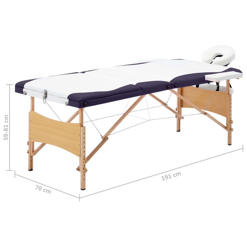 Masă de masaj pliabilă, 3 zone, alb și violet, lemn
