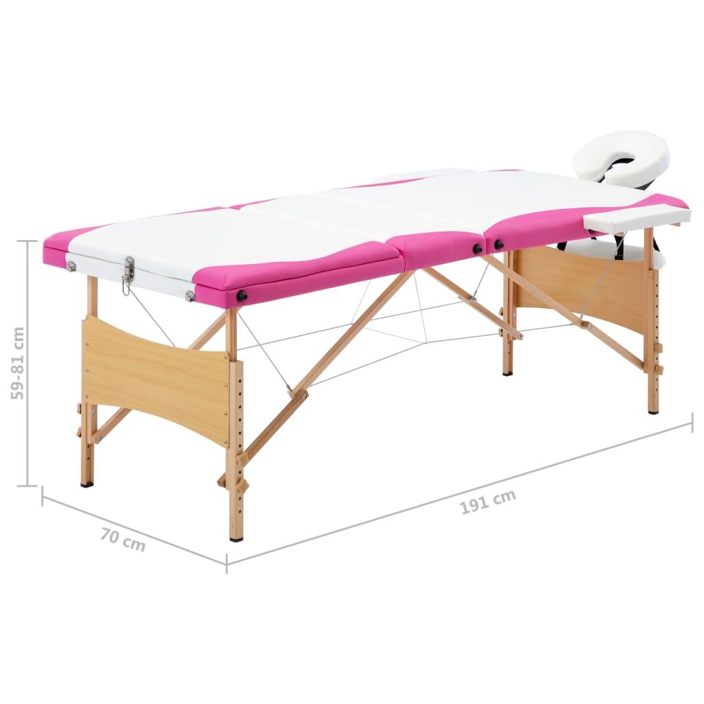 Masă pliabilă de masaj, 3 zone, alb și roz, lemn