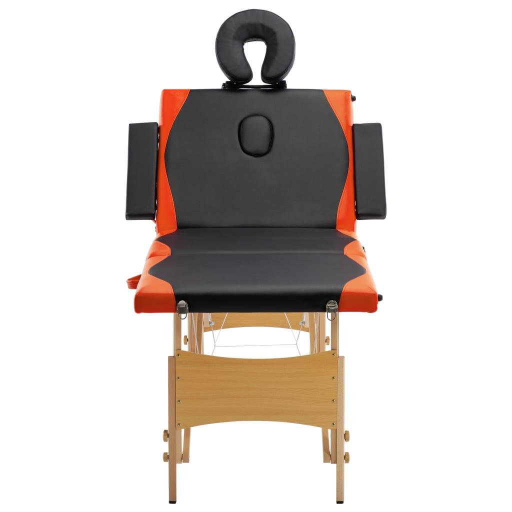 Masă pliabilă de masaj, 4 zone, negru și portocaliu, lemn