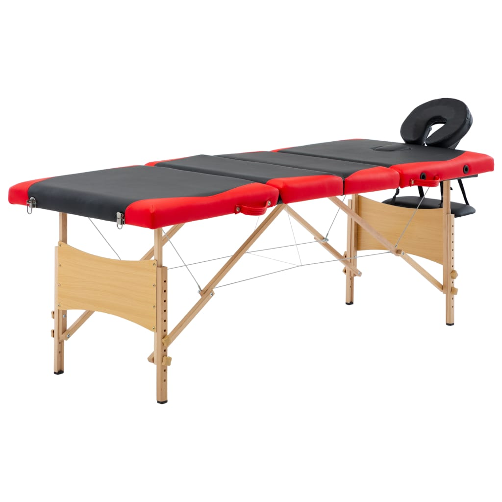 vidaXL Masă pliabilă de masaj, 4 zone, negru și roșu, lemn