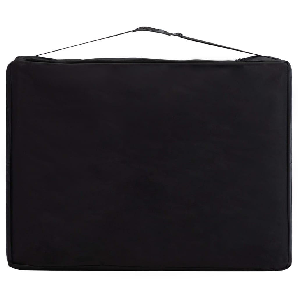 vidaXL Masă pliabilă de masaj, 4 zone, negru și violet, lemn